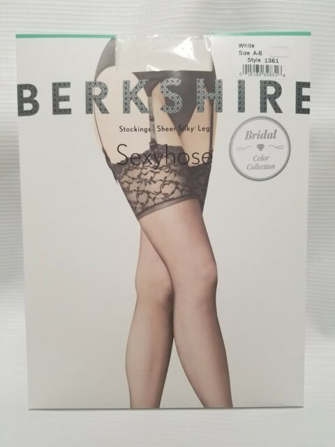 c105d4067 Berkshire Sexyhose lace top White thigh high stockings size Queen 1 style  1361