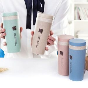 Wheat Coffee Mug Straw Cup Travel Water Bottle Plastic Portable Tea Home Office