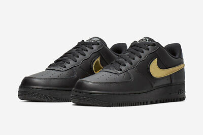 Nike Men's Air Force One 1 Low Black Metallic Gold Removable Swoosh CT2252 001 | eBay