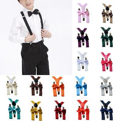 Adjustable Braces Elastic G-Real Baby Boy Girl Suspenders and Bow Tie Set