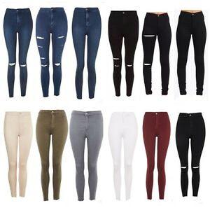 e4799d03cd795 WOMENS HIGH WAISTED SKINNY JEANS RIPPED JEGGING LADIES 8 10 12 14 16 ...
