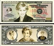 LADY DIANA - BILLET MILLION DOLLAR US! Collection PRINCESSE Famille Royale Di UK