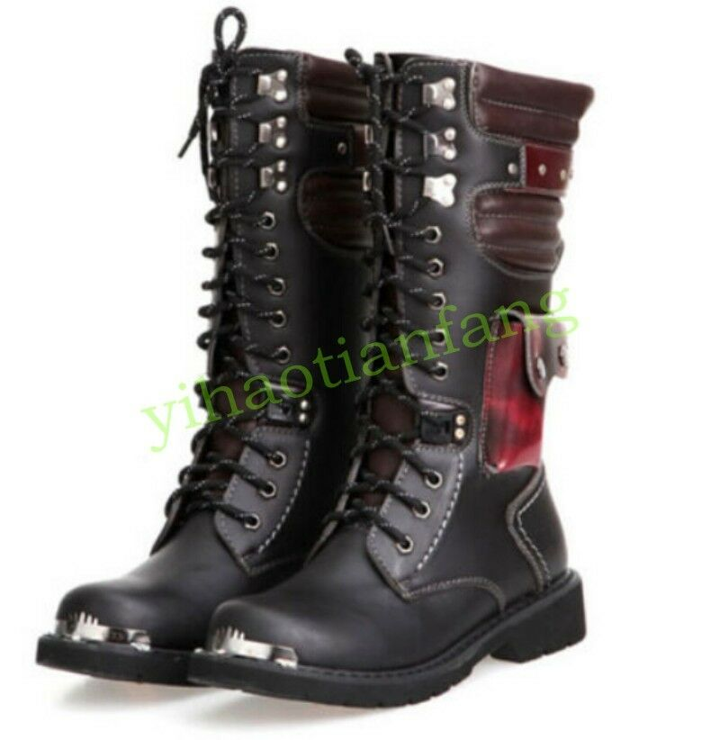 Mens Punk Leisure Strappy Goth Boot Strappy Leisure Military Motor Combat Performances Shoes Hot dbae44