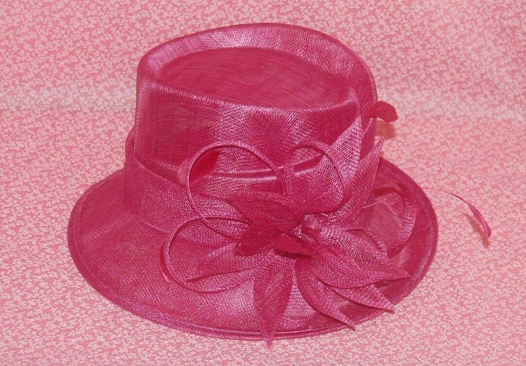 Special Occasion Sinamay Rose Pink Flower Decoration Medium Brim Hat. BNWT