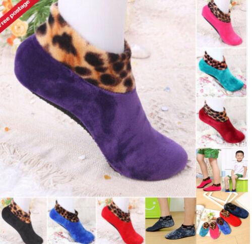 Adult Winter Warm Leopard Bed Non Slip Home Indoor Slippers Floor Protecto Socks