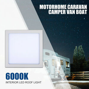 300mm-300mm-Caravan-Camper-Motorhome-Boat-LED-Roof-Light-Ceiling-Light-White-12V