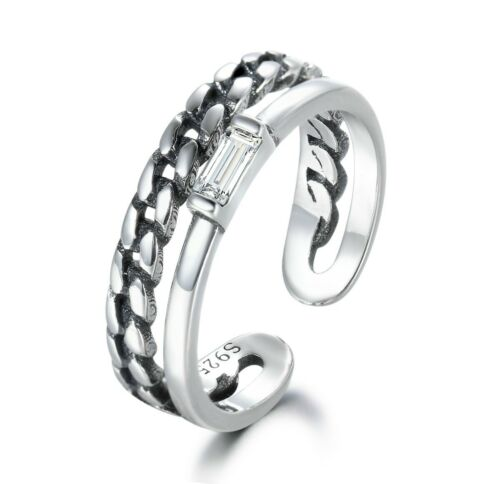White Sapphire Bridal Band 100/% NOT PLATED 925 Sterling Silver Women Open Ring
