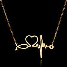 Estetoscopio Enfermera ECG Collar-latido del corazón Collar médico oro sumergido Ciencia
