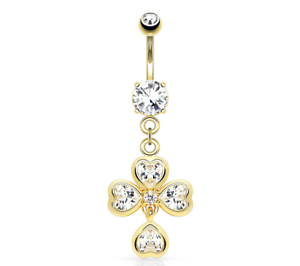 Belly Bar CZ Four Leaf Clover 316L Surgical Steel Gold or Silver