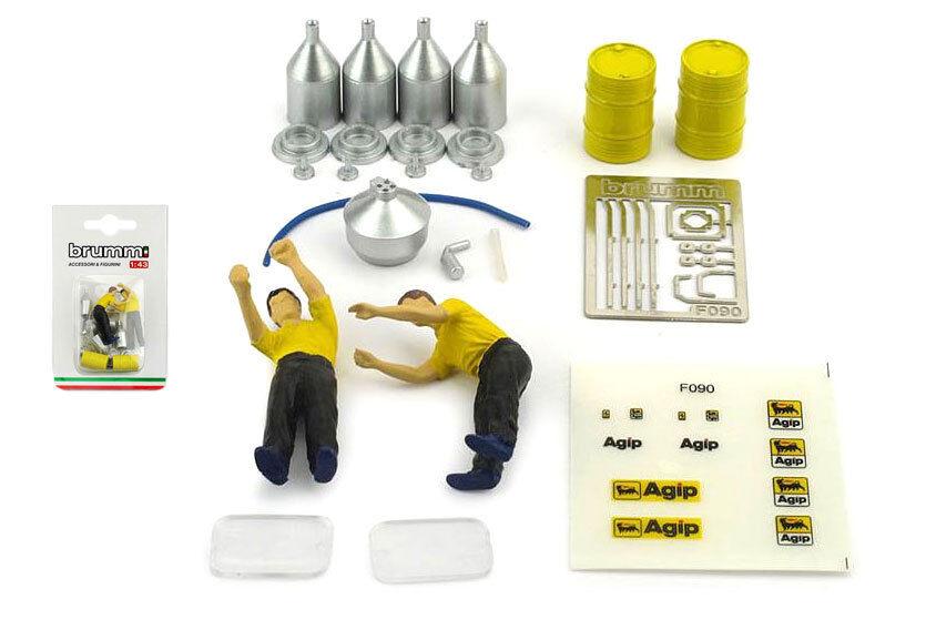 Brumm F090 Ferrari Pit Crew Mechanics (Fuel Set) - 1 43 Scale