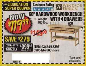 Terrific Details About Harbor Freight Coup On For 60 Hardwood Workbench With 4 Drawers Short Links Chair Design For Home Short Linksinfo