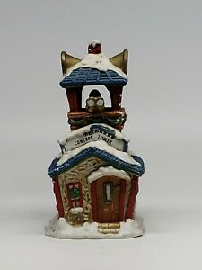 Ceramic-Village-Reindeer-control-tower-w-Light-Hole-Christmas-RETAILER