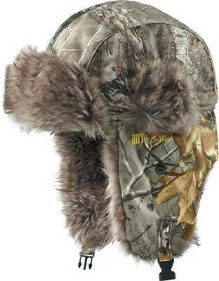 REALTREE XTRA CAMO BOMBER TRAPPER HAT - HUNTING, FAUX FUR, TRICOT, OUTDOOR