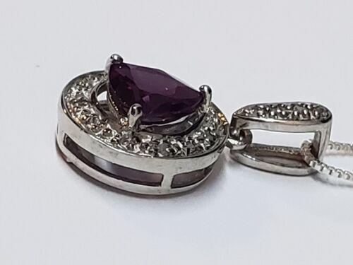 "Red Rhodolite /& White Topaz /& 925 Sterling Silver Pendant On 18/"" Box Chain"
