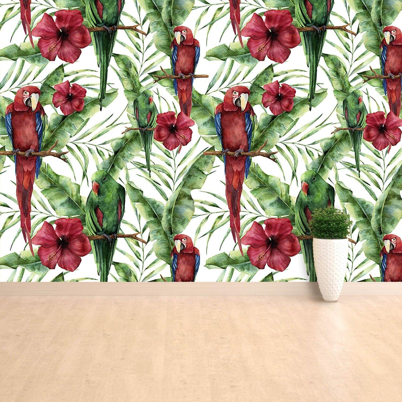 Fototapete Selbstklebend Einfach ablösbar Mehrfach klebbar Papageien Blätter