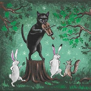 8X10 PRINT OF PAINTING RYTA EASTER BLACK CAT SQUIRREL TABBY BUNNY RABBIT SPRING