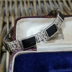 Vintage Sterling Silver Tennis Bracelet, Black Onyx Inlay, Modernist, 24gr