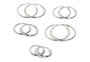925 Sterling Silver Hoop Sleeper Earrings 4OpAWF