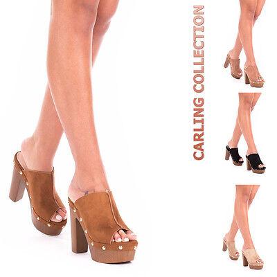 d5d2e89a8d150 Details about Ladies Womens High Heel Platform Studded platform Clog Peep  Toe Sandals Mules