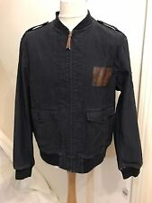 RALPH LAUREN RRL VINTAGE BLUE COTTON BOMBER JACKET COAT MILITARY SIZE LARGE