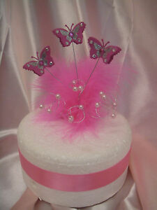 diamante set butterfly pearl feather wedding birthday cake ...