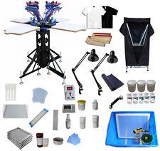4 Color Screen Printing Kit Silk Screen Press Drying Cabinet Exposure Unit Print