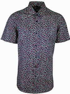 MENS DENIM COLLAR SHORT SLEEVE SHIRT FORMAL DRESS CASUAL FM £19.99 TO 14.99 304