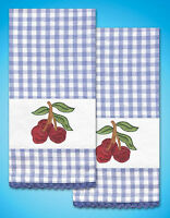 Stamped Embroidery Design Works Cherry Kitchen Towel Pair (2 Towels) T212951