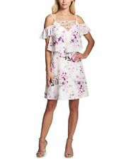 66f3cddda75a $290 KENSIE WOMEN'S WHITE PINK FLORAL LACE-UP COLD-SHOULDER SHIFT DRESS  SIZE 8