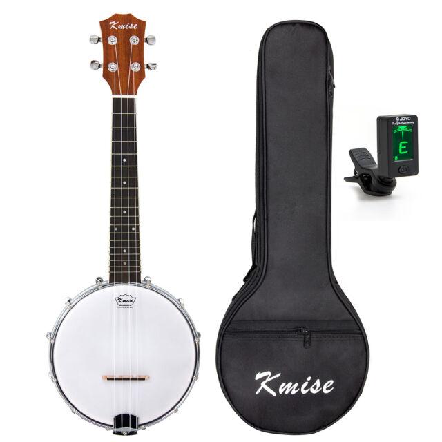 Kmise 4 String Banjo Ukulele Uke Concert with Bag Tuner Sapele Wood 23 Inch