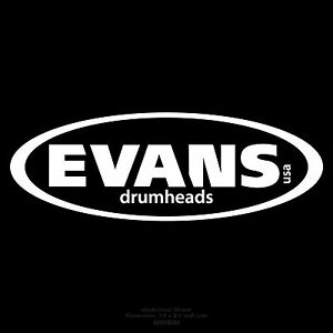 evans drumheads 7 5 x 2 5 white logo sticker decal for bass drum drumhead ebay. Black Bedroom Furniture Sets. Home Design Ideas