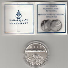 FINLANDIA FINLAND 10 Euro 2002 50° Olimpiadi Helsinki Argento Silver BU