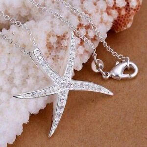 ASAMO-Damen-Halskette-mit-Seestern-Anhaenger-925-Sterling-Silber-plattiert-H1030
