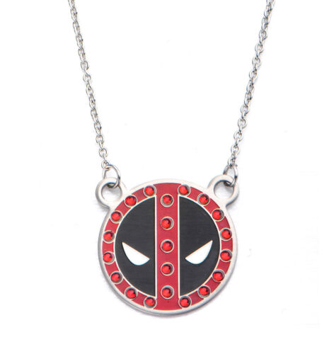 """New in Gift Box Licensed Deadpool Stainless Steel Pendant Necklace w// Red /""""Gems/"""""""