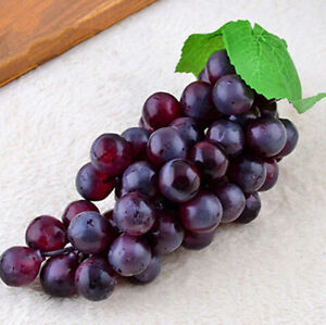 Bunch lifelike artificial grapes plastic fake fruit home for Artificial cherries decoration