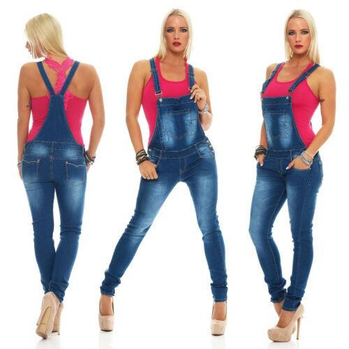10979 Damen Latzhose Jeans Röhrenjeans mit Hosenträgern Jeanslatzhose Overall