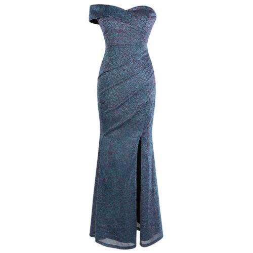 Angel-fashions Damen Falten Abendkleid Schulterfrei Schlitz Lange Formell 443
