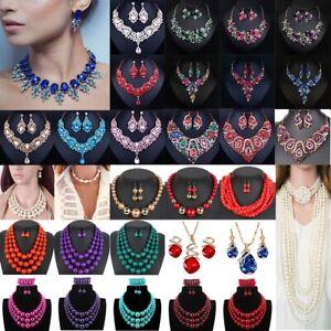Women-Fashion-Bib-Choker-Chunk-Crystal-Statement-Necklace-Wedding-Jewelry-Set