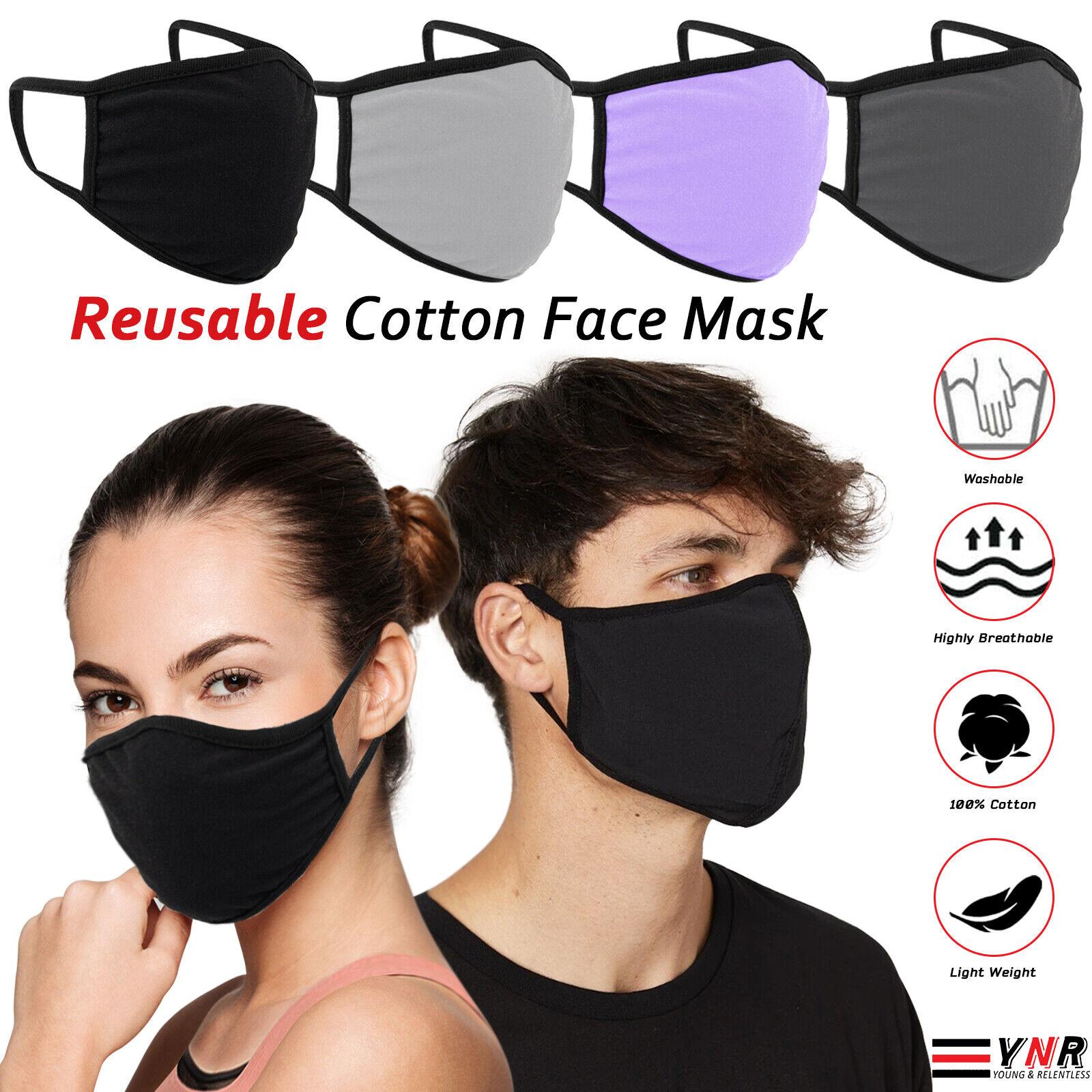 Cotton Face Mask Protective Covering Mouth Masks Washable Reusable Black LOT UK