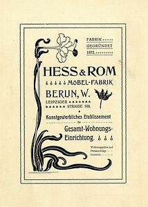 Hess Möbel hess rom berlin w möbel fabrik kunstgewerbliches etablissement