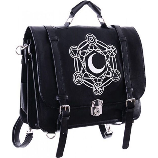 Restyle Moon Messenger Satchel Back Pack Handbag Occult Goth Black