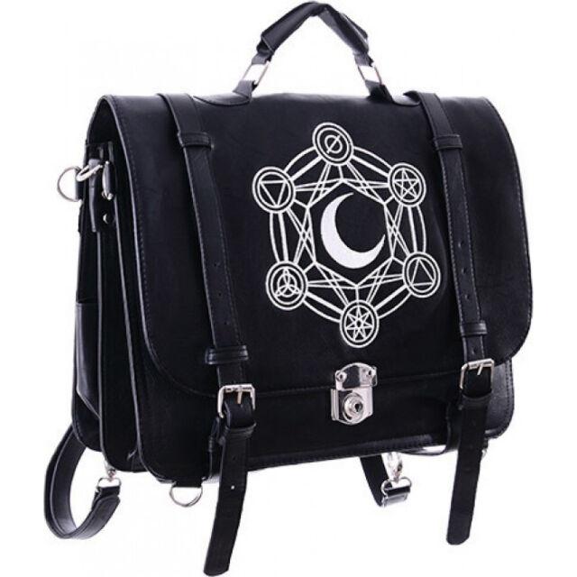 Restyle Moon Messenger Satchel Back Pack Handbag Occult Goth Black