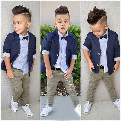 Toddler Kids Boy T-shirt+Coat+Trousers Pants Gentleman Clothes Outfits Hot