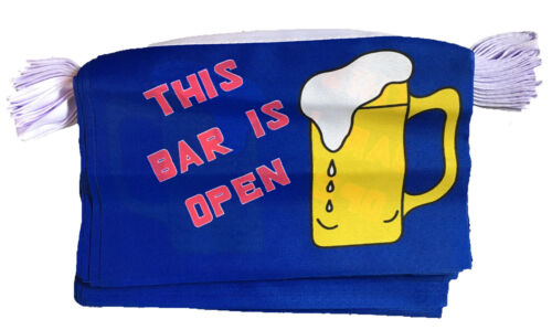 THIS BAR IS OPEN BUNTING 3 metres 10 flags flag BARBECUE PUB PUBS AND CLUBS