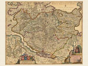 1690 Papier Leinwand Alte Schleswig-Holstein Deutschland Landkarte Visscher ca