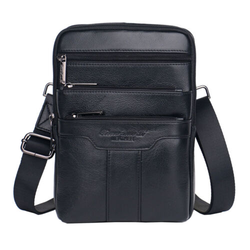 Men Leather Business Messenger Sling Bag Daypack Crossbody Shoulder Pack Pouch