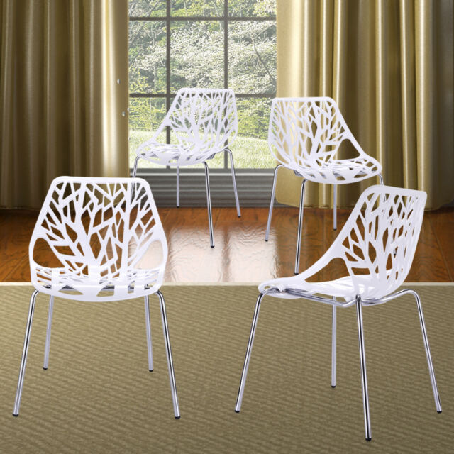 Groovy Birds Nest Set Of 4Pcs White Modern Dining Chairs Kid Friendly Birch Stackable Ibusinesslaw Wood Chair Design Ideas Ibusinesslaworg