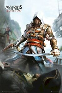 ASSASSIN-039-S-CREED-IV-EDWARD-KENWAY-W-SWORD-24x36-VIDEO-GAME-POSTER-Black-Flag
