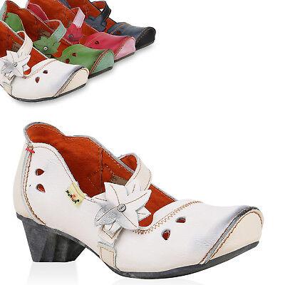 TMA Damen Leder Pumps Mary Janes Blumen Print Vintage Schuhe 826060 Trendy Neu