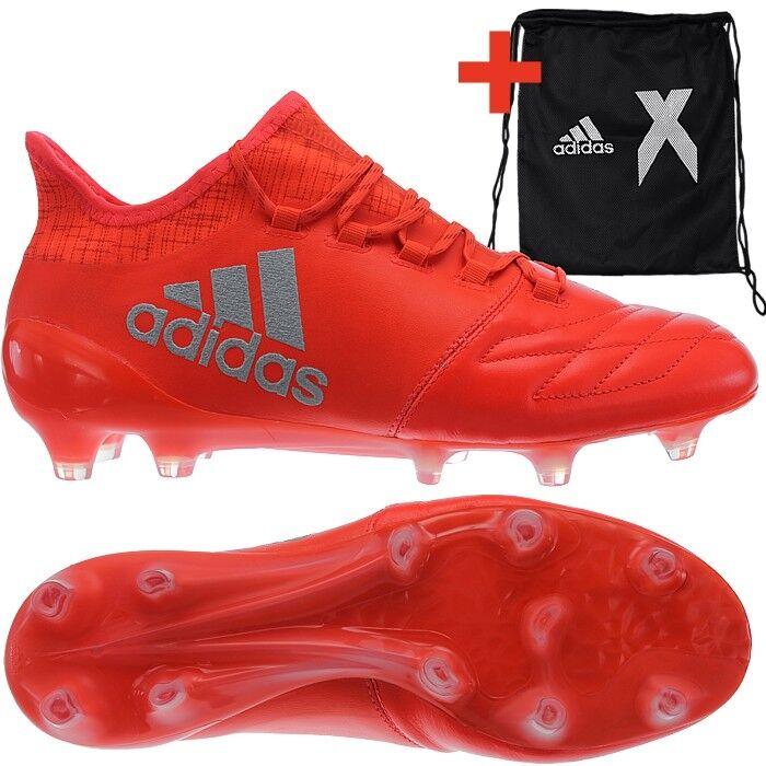 Adidas X 16.1 FG botas De Fútbol Para Hombre De Cuero Rojo Plata Fg-Tacos Botines Nuevos